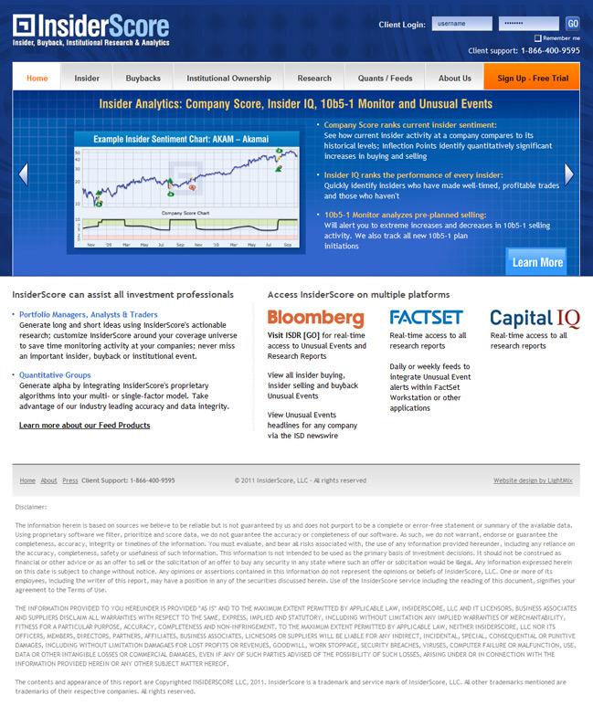 Website design for Корпоративный веб-сайт для инсайдерской компании